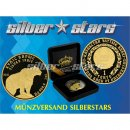 1 OZ Silver 2010 Snowleopard 1 Tenge Gold Black Empire...
