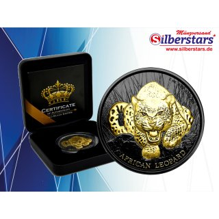 1 OZ Silber African Leopard 2017 Ghana Gold Black Empire Edition