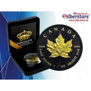 1 OZ Silber Maple Leaf 2019  Gold Black Empire Edition