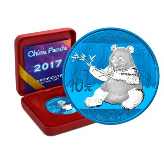 10 Yuan China Panda 2017 Space Blue Edition in Box + CoA
