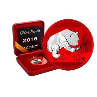 10 Yuan China Panda 2016 Space Red Edition in Box + CoA