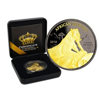 1 OZ Silber African Leopard 2018 Ghana Gold Black Empire Edition